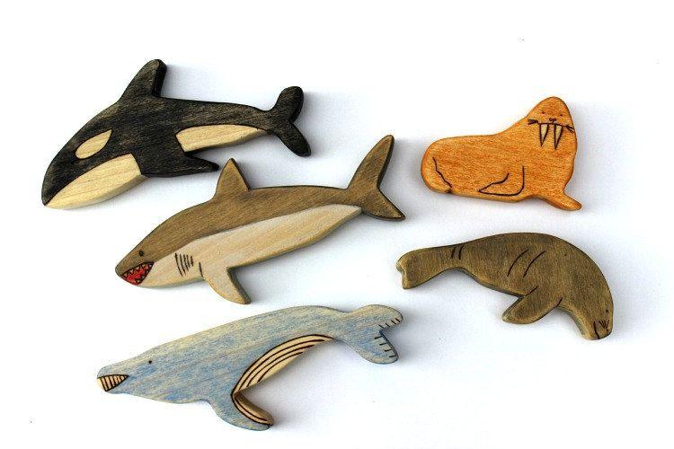 Wooden Toys floe Antarctic Arctic animals Wooden Whale