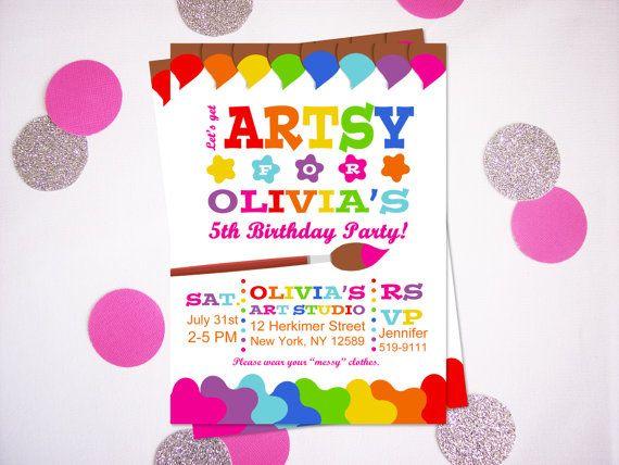 Printable Art Party Invitation Printable Art Birthday Party