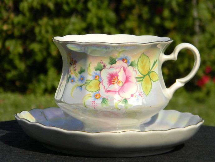 Pretty Pearlized Footed Rose Teacup and Saucer - Iridescent Floral Tea Cup