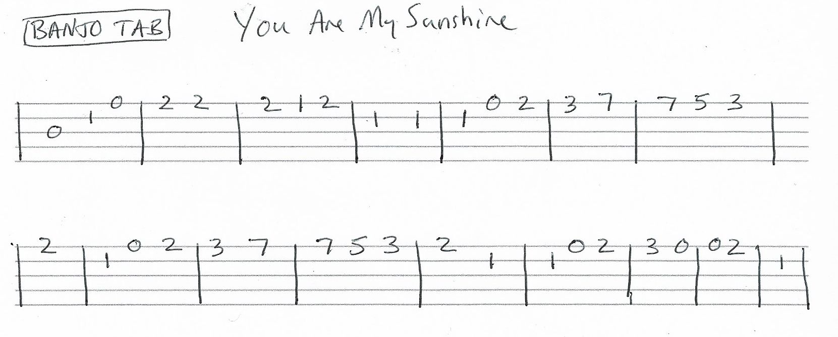 You Are My Sunshine Banjo Tab Vocal Melody In C With Images