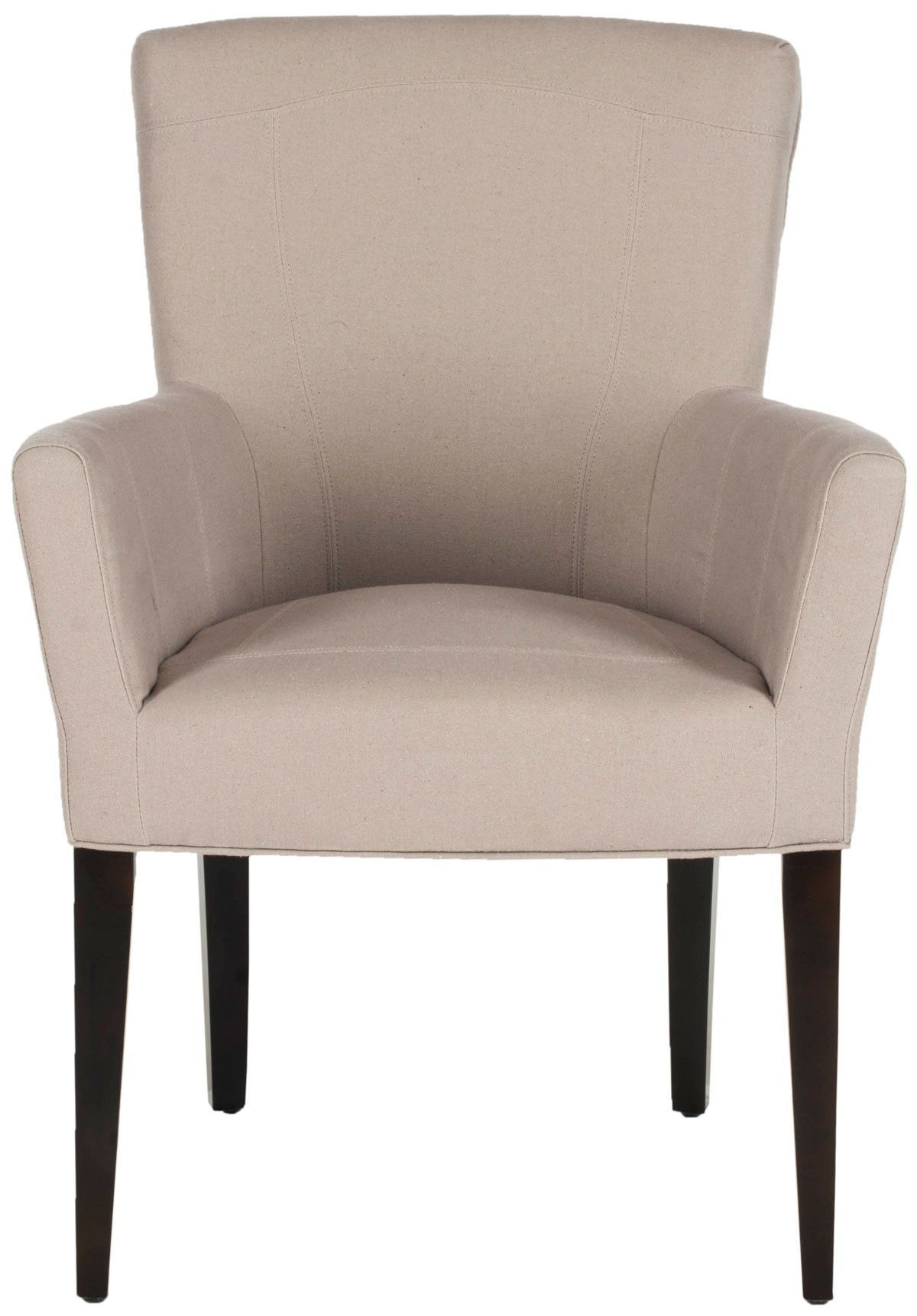Dale Arm Chair In Linen On Wood Legs