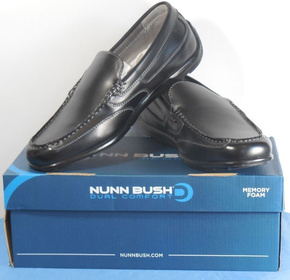 NUNN BUSH CALE DUAL COMFORT SLIP ON LOAFERS MENS SIZE 8.5 BLACK SHOE 84546 NIB #NunnBush #Loafers
