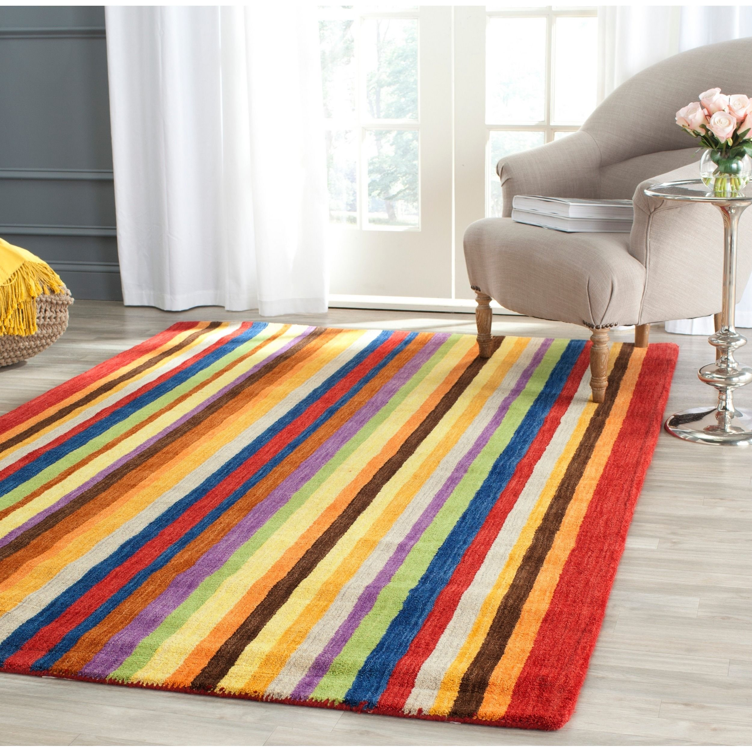 Safavieh Handmade Himalaya Red Multicolored Stripe Wool Gabbeh Rug