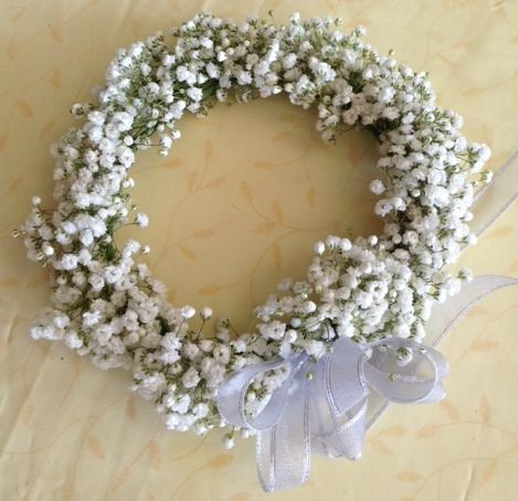 A lovely baby's breath headpiece for the flower girl