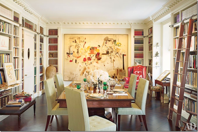 If You Can T Have A Dedicated Library I Ve Always Thought A Combination Dining Room Library Is A Good Use Of Spa Home Libraries Dining Room Decor Library Room