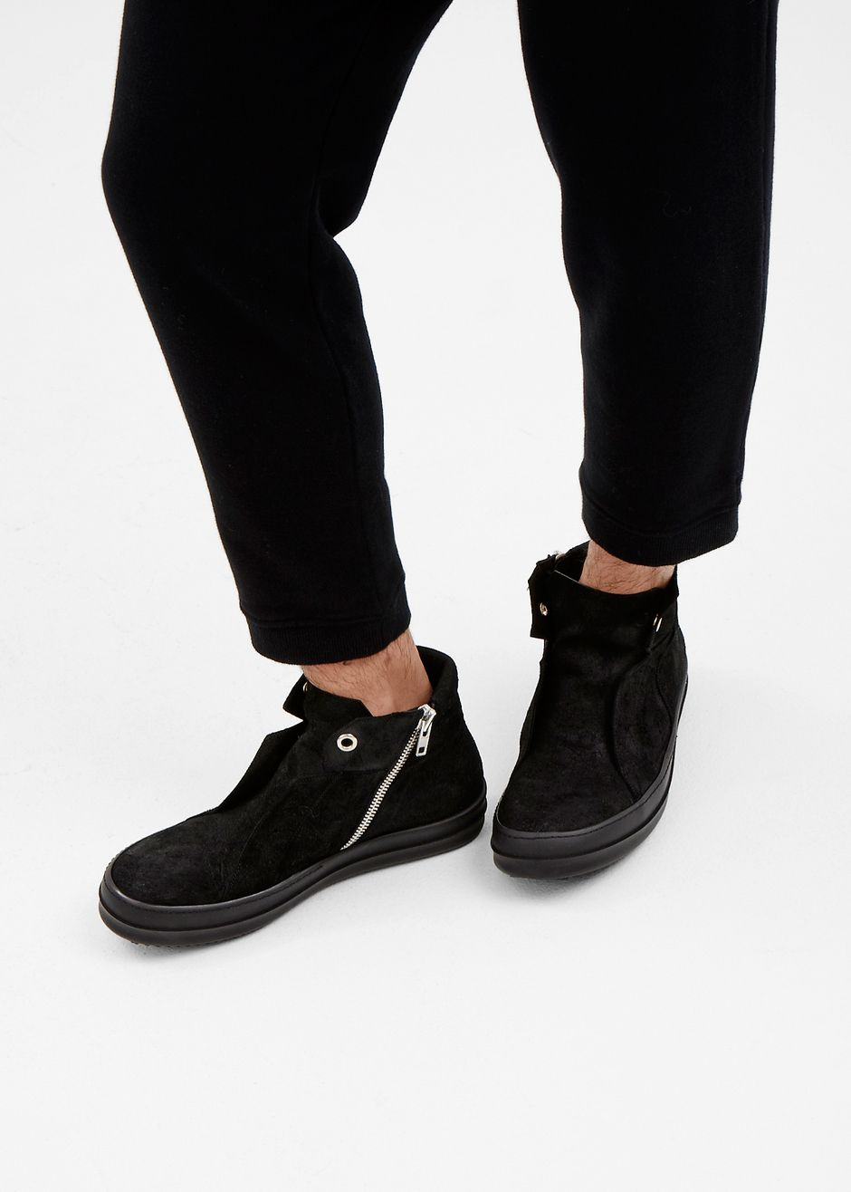 Rick Owens Blistered Leather Island Dunk Sneaker in Black  totokaelo   rickowens f9534a7cb6912