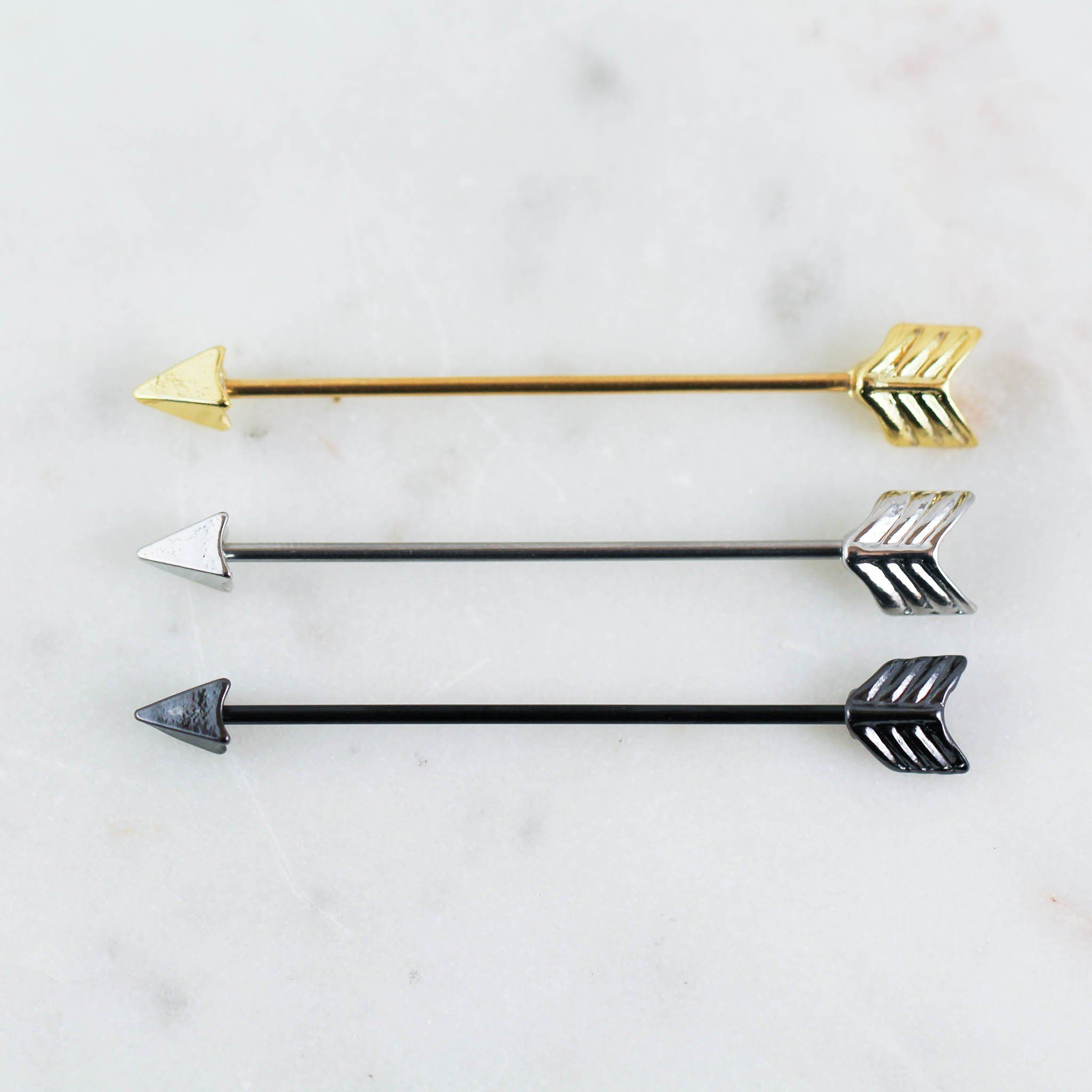 The Arrow Industrial is a classic pick for your industrial piercing! It is sold by piece and is 316L surgical steel made with ip plating at 16 gauge (1.2mm) and 1 1/2