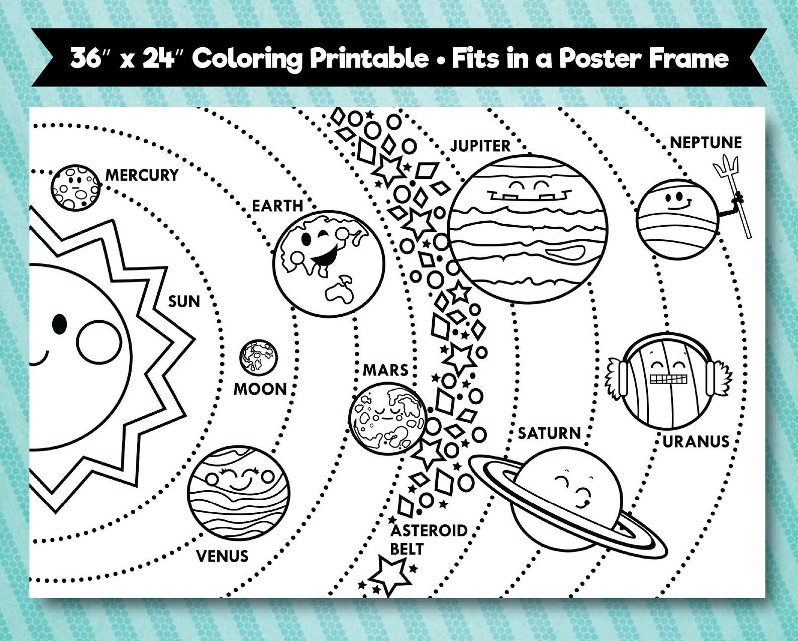 Solar System Printable 36x24 Horizontal Layout