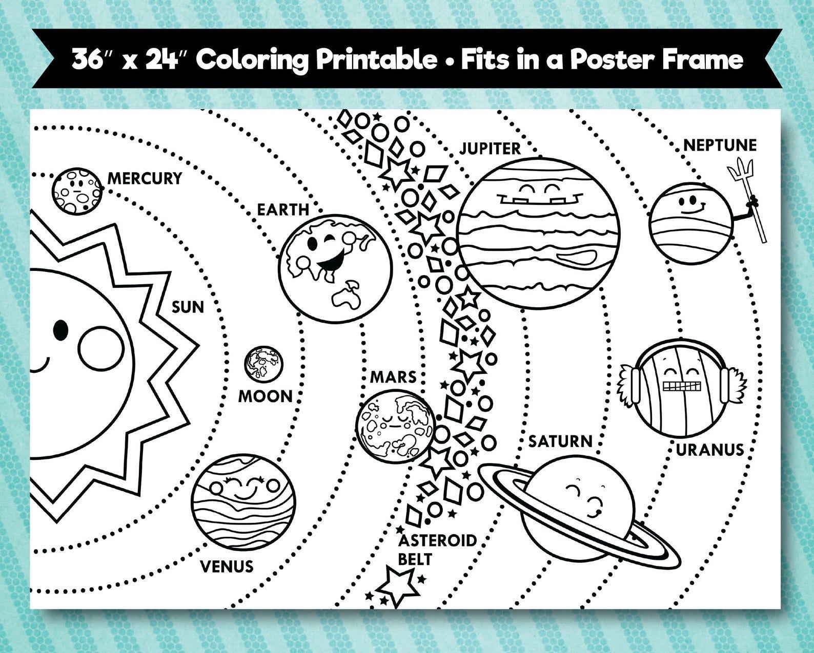 Solar System Printable 36x24 Horizontal Layout