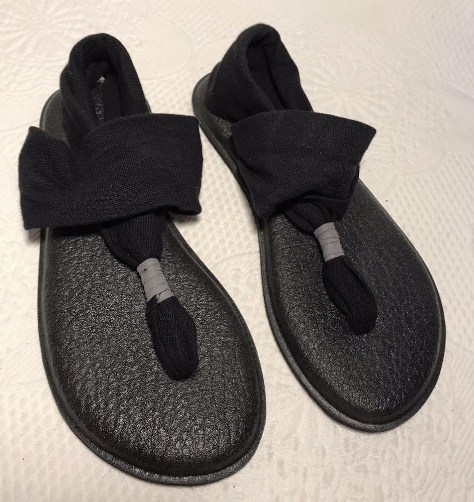 25b578fe68fd94 Sanuk Yoga Mat Sling Sandals Black Stretch Flip Flops Ankle Wrap Shoes Size  6  fashion