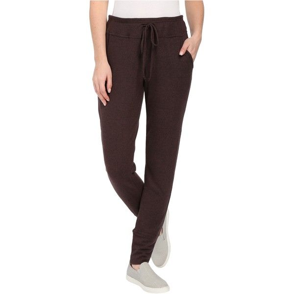 Bobeau Brushed Jogger Pants (Deep Eggplant) ($22) ❤ liked on Polyvore featuring red and bobeau