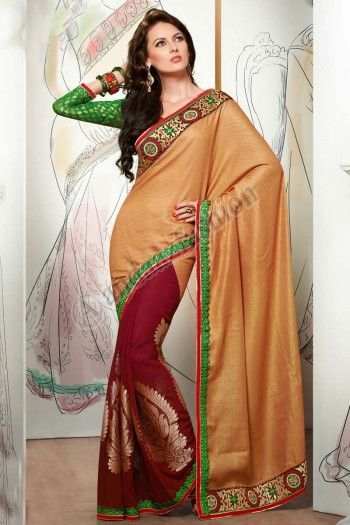 Pas cher saris Collection, Designer Georgette saris, saris de mariage, saris indiens http://www.andaazfashion.fr/womens/sarees/cream-jacquard-scurt-saree-dm-6444.html