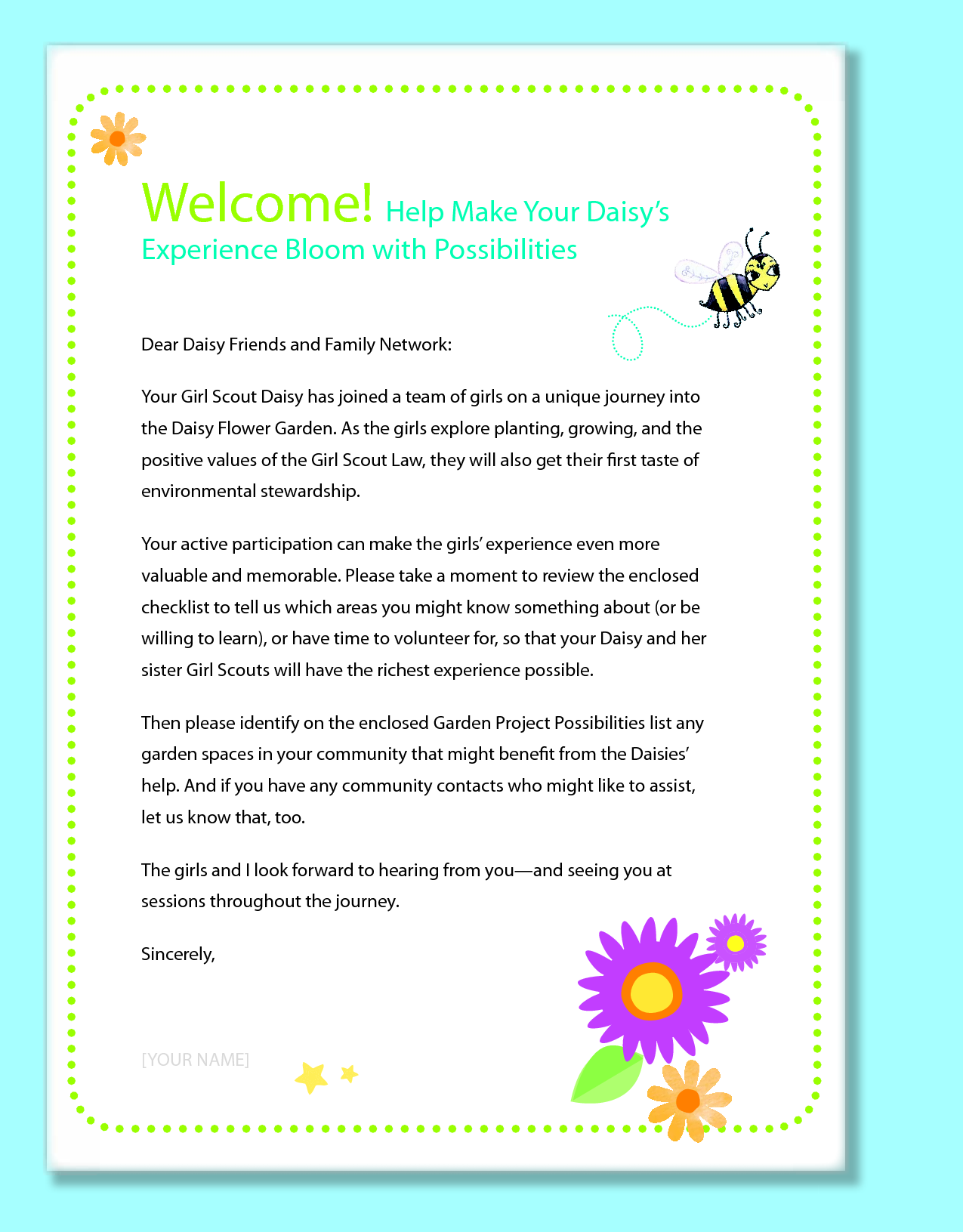 Daisy Girl Scout Newsletter Template  Introduction To Parents