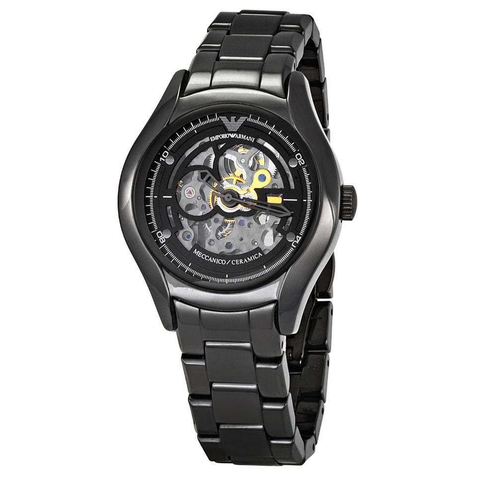 d80bce96e Emporio Armani Men's Meccanico Ceramic Watch In Black | For that ...