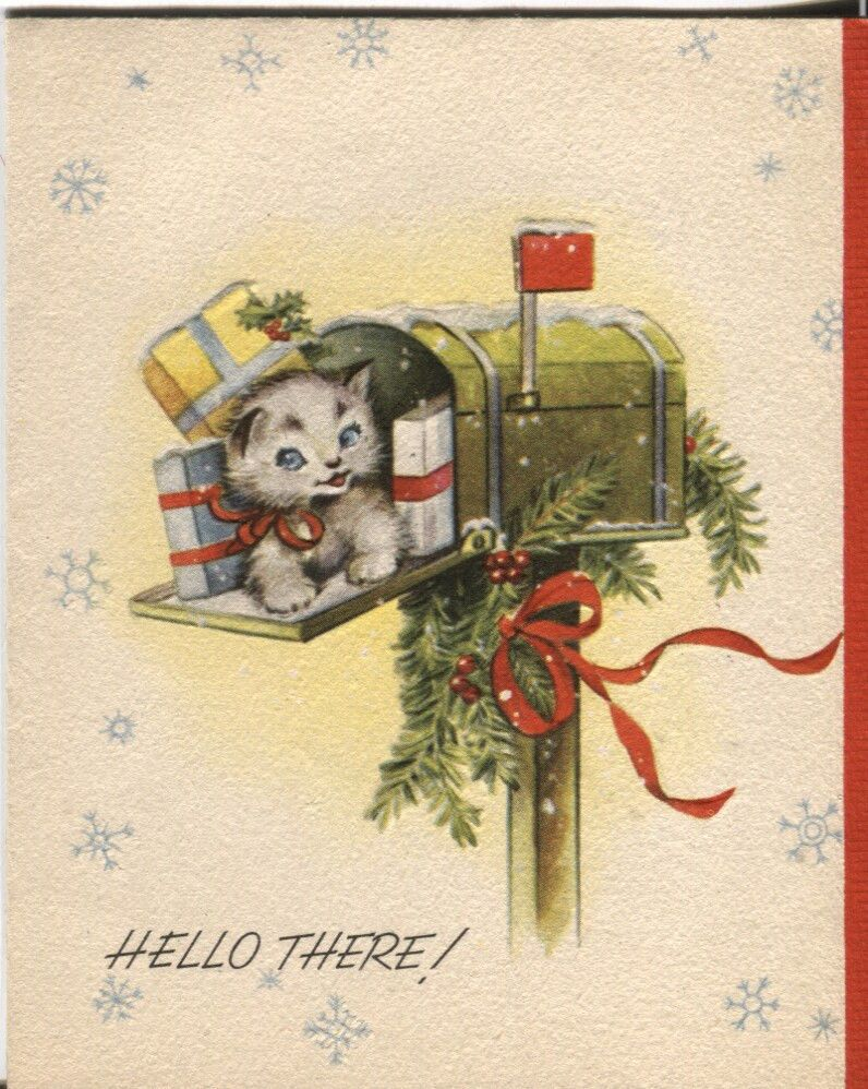 Vintage Artistic Christmas Card Kitten With Packages In Mailbox