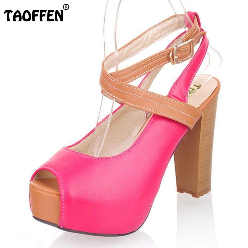 TAOFFEN women high heel sandals platform fashion dress lady sexy shoes heels  quality pumps P5321 Hot 209c3a4912b4