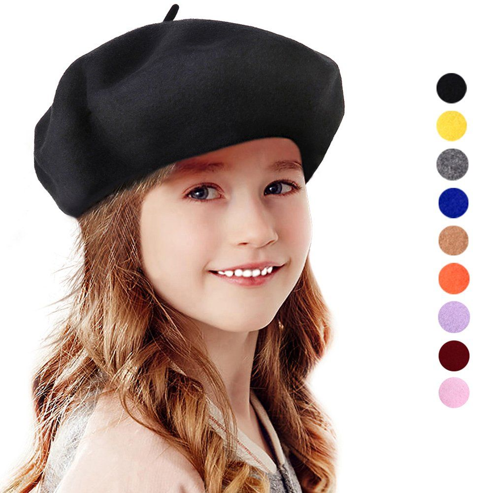 f01e77f96a2 Bonaweite Kids Girls Warm French Beret Hat Solid Beanie Cap Winter Autumn  Black. MATERIAL