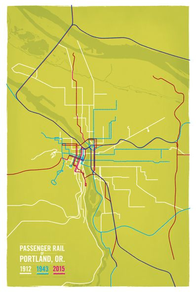 "Roaming through the Internet jungle, I chanced to find this map of Portland area transit lines by graphic designer Cameron Booth:  Cameron writes: ""This map…compares the passenger rail network of Portland from three different eras – 1912, 1943, and 2015, …"