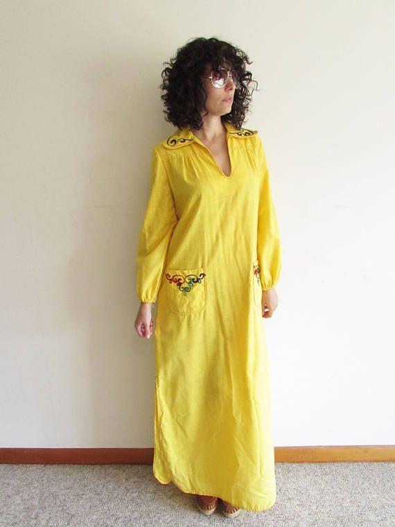 500ab50a041 Vintage Yellow and Rainbow Vintage 60s 70s Miss Bierner Hippie Boho  Festival Kaftan Maxi Dress