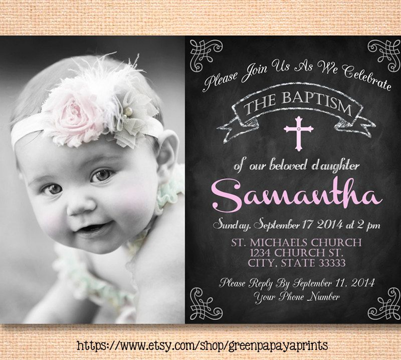 Printable girls baptism invitation christening invite girls baptism invitation christening invite dedication church godparents photo invite printable chalkboard pink by greenpapayaprints on stopboris Images