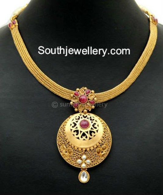 Simple gold necklace with pendant joolry pinterest gold simple gold necklace with pendant aloadofball Images
