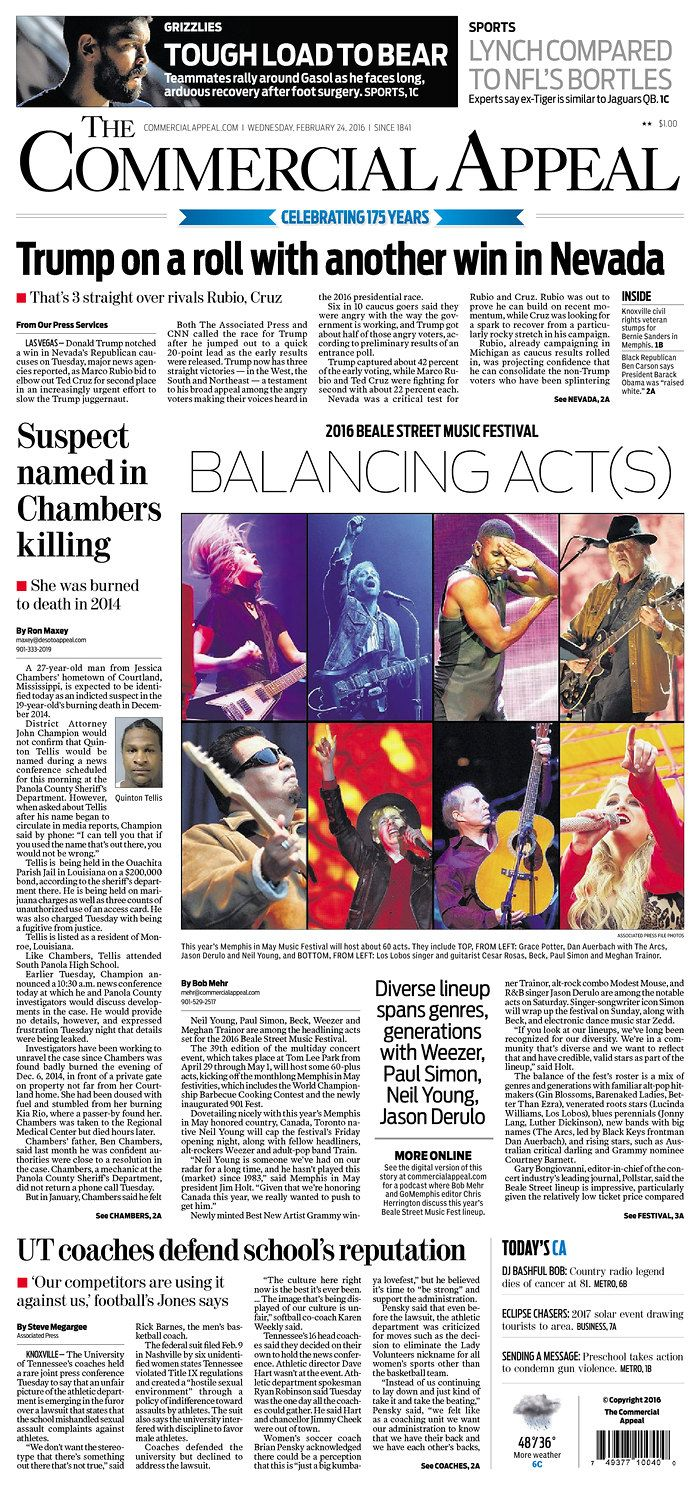 #20160224 #USA #Memphis #TENNESSEE #TheCommercialAppeal Wednesday FEB 24 2016 http://www.newseum.org/todaysfrontpages/?tfp_show=80&tfp_page=8&tfp_id=TN_CA