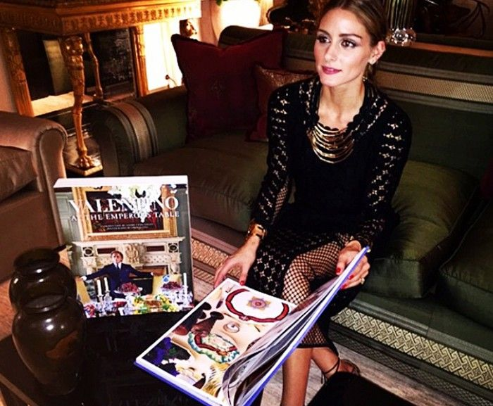 Olivia Palermo in a gorgeous gold statement necklace and mesh-paneled dress // via @therealoliviap