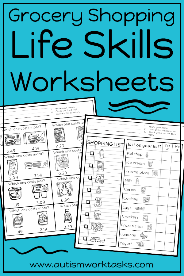 Life Skills Worksheets Grocery Store Life Skills Classroom Teaching Life Skills Life Skills Lessons