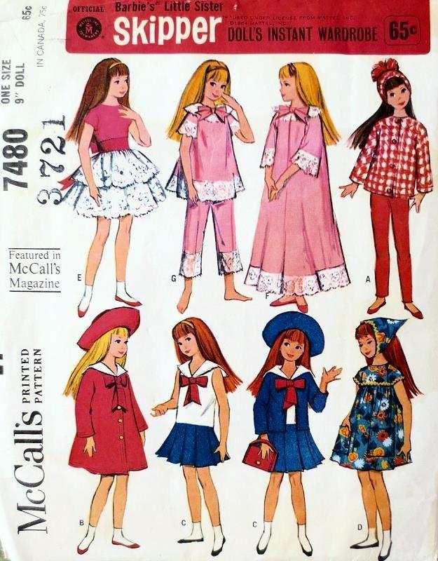 Vintage 60s McCalls 7480 Doll Pattern, Mattel 1964 Skipper Doll Clothes Skipper Clothing Doll Wardrobe, 9 Inch Doll, Barbie Little Sister UNCUT