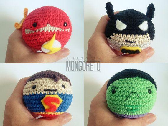 Amigurumis Pequeños Para Llaveros : Super heroes amigurumi crochet balls llaveros bolitas y ganchillo