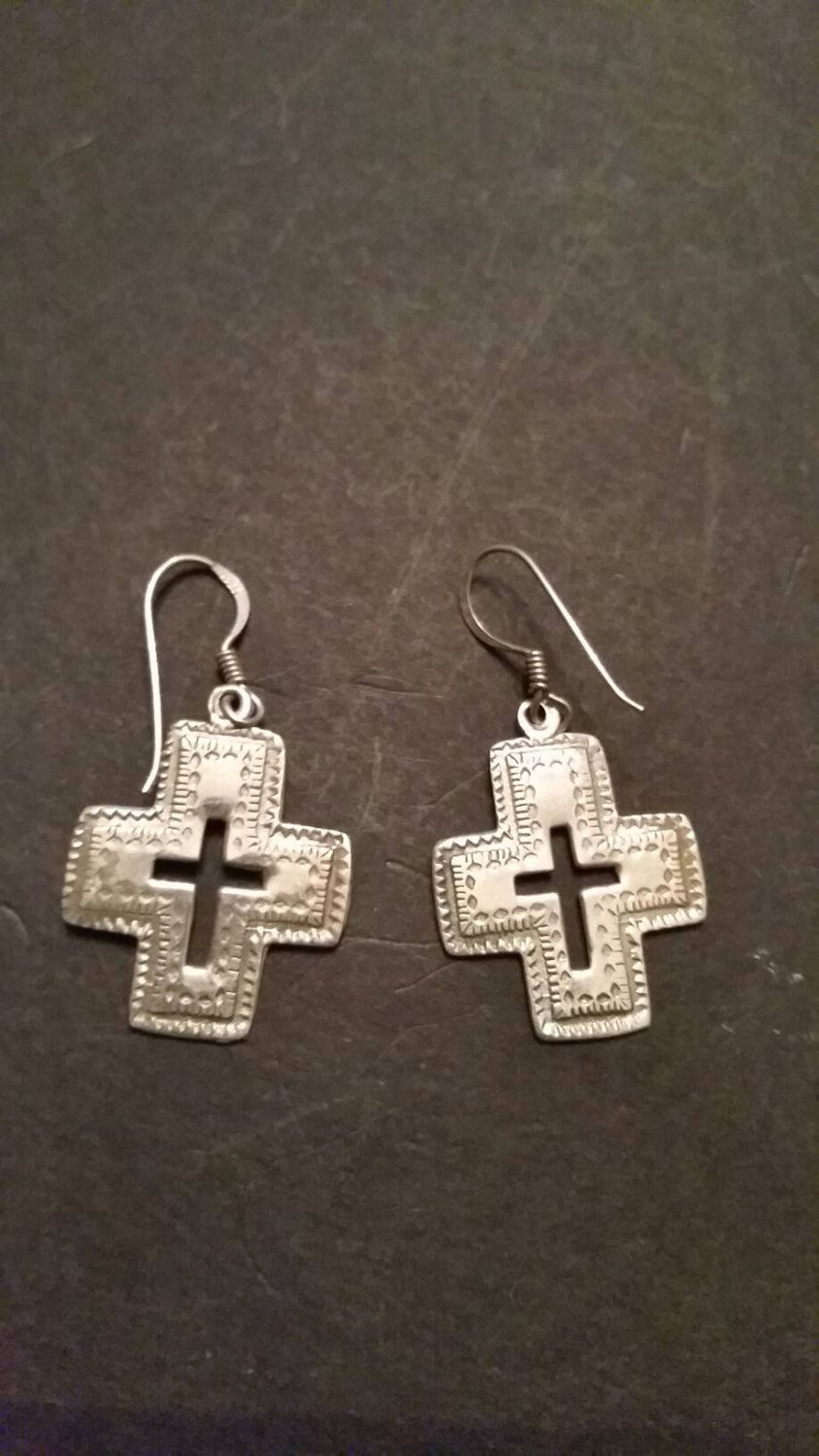 Sterling Silver Cross Earrings Dangle Crucifix 925 Southwestern By