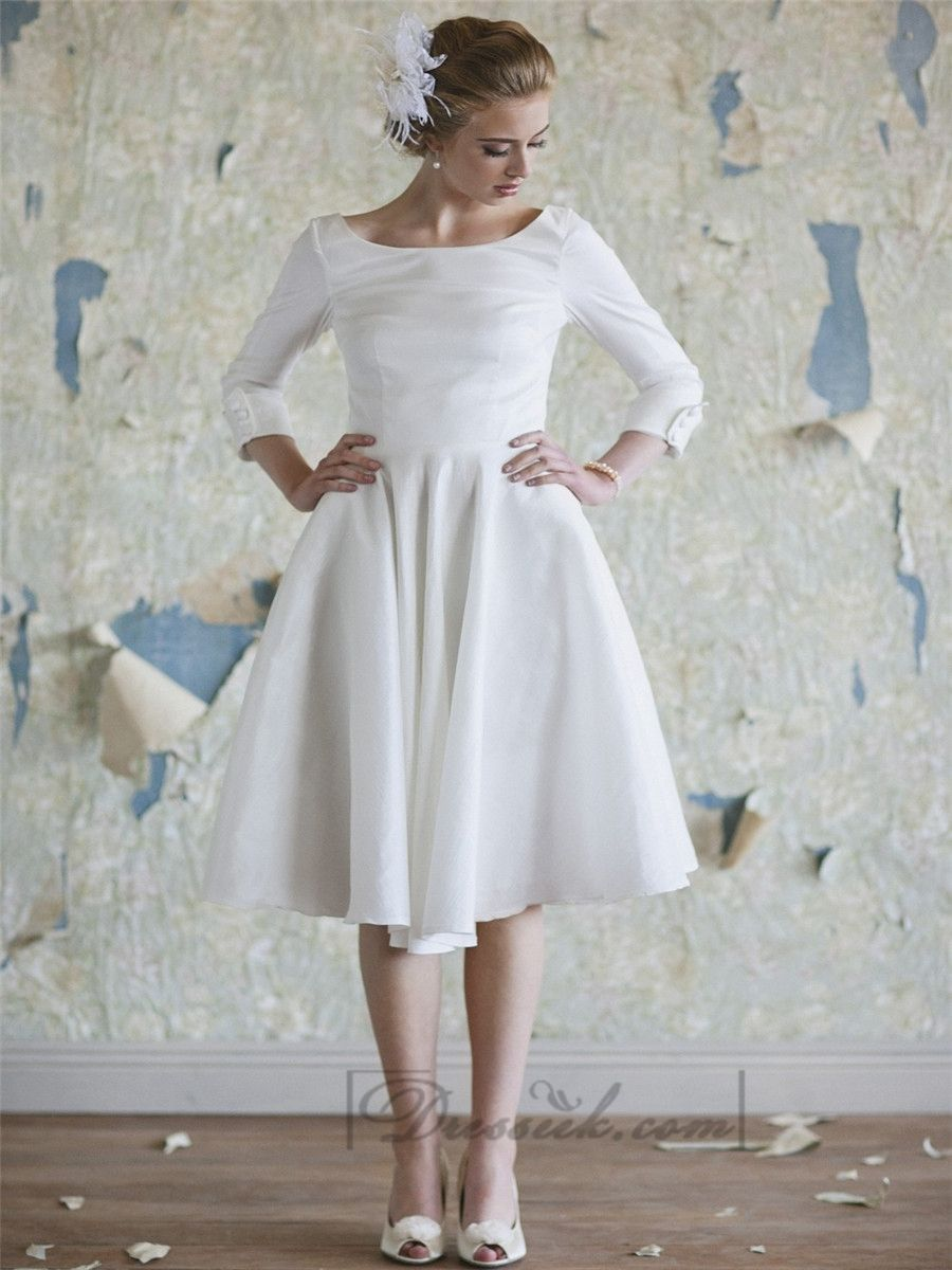 Tea length sleeve wedding dress  Classic Vintage Aline  Length Sleeves Tea Length Wedding Dresses