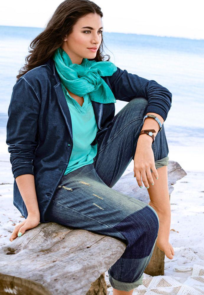 Blazer Art. 71026071 und Boyfriend Jeans Art. 71031892 #ullapopken #blzaer #fashion #plussize