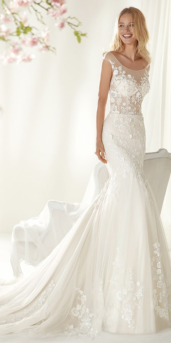 gorgeous tulle scoop neckline mermaid wedding dress with 3d lace