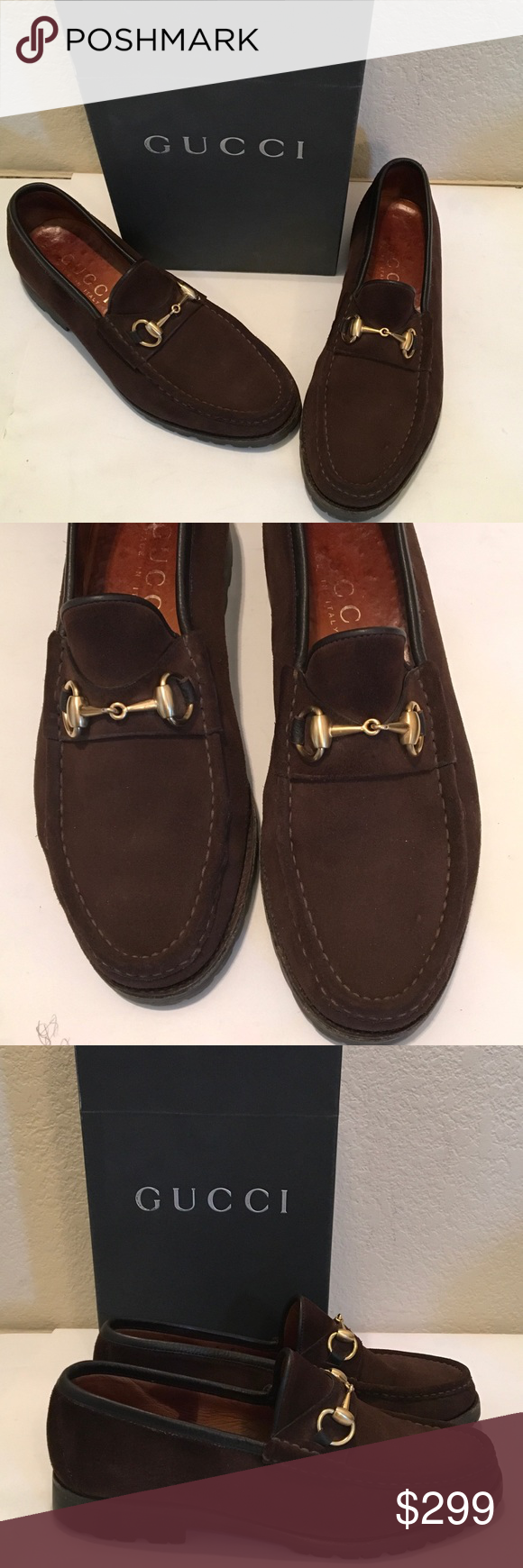 6206fbe740a75 GUCCI MENS Brown SUEDE Horsebit LOAFER RUBBER SOLE Excellent condition Men's  Chocolate Suede sport slip on
