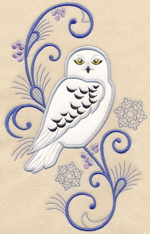 Elegant Owl Spray (Applique) design (Y4655) from www.Emblibrary.com