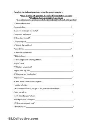 12 questions given in direct form, students change them to - printable address change form