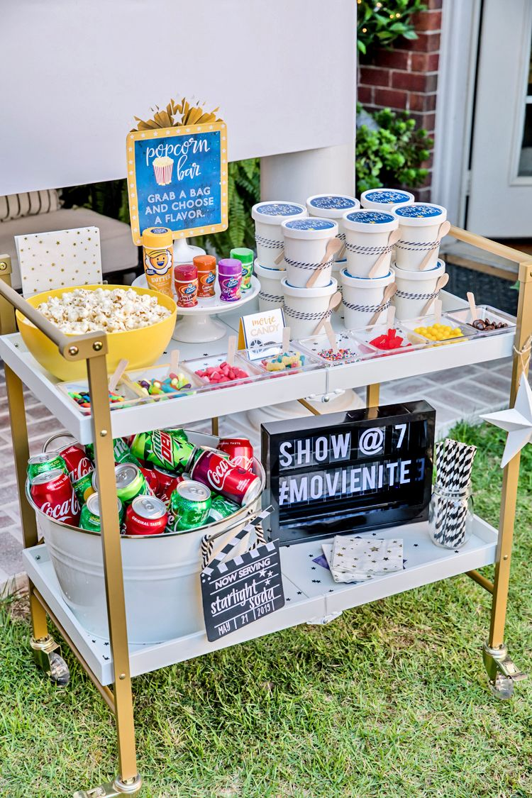 Photo of Outdoor Movie Popcorn Bar Sign | Amy's Party Ideas