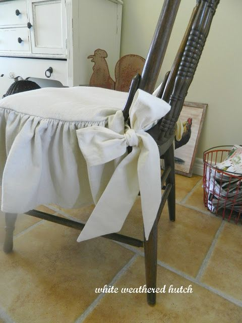 Merveilleux White Weathered Hutch: Country Chic Ruffled Drop Cloth Chair Cushions