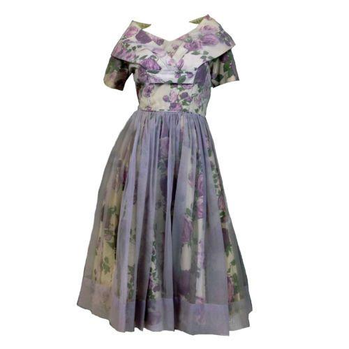 1960s Vintage Empire Waist Floral Light Blue Silk Gown Maxi Long Dress Short Sleeve  XXS-XS