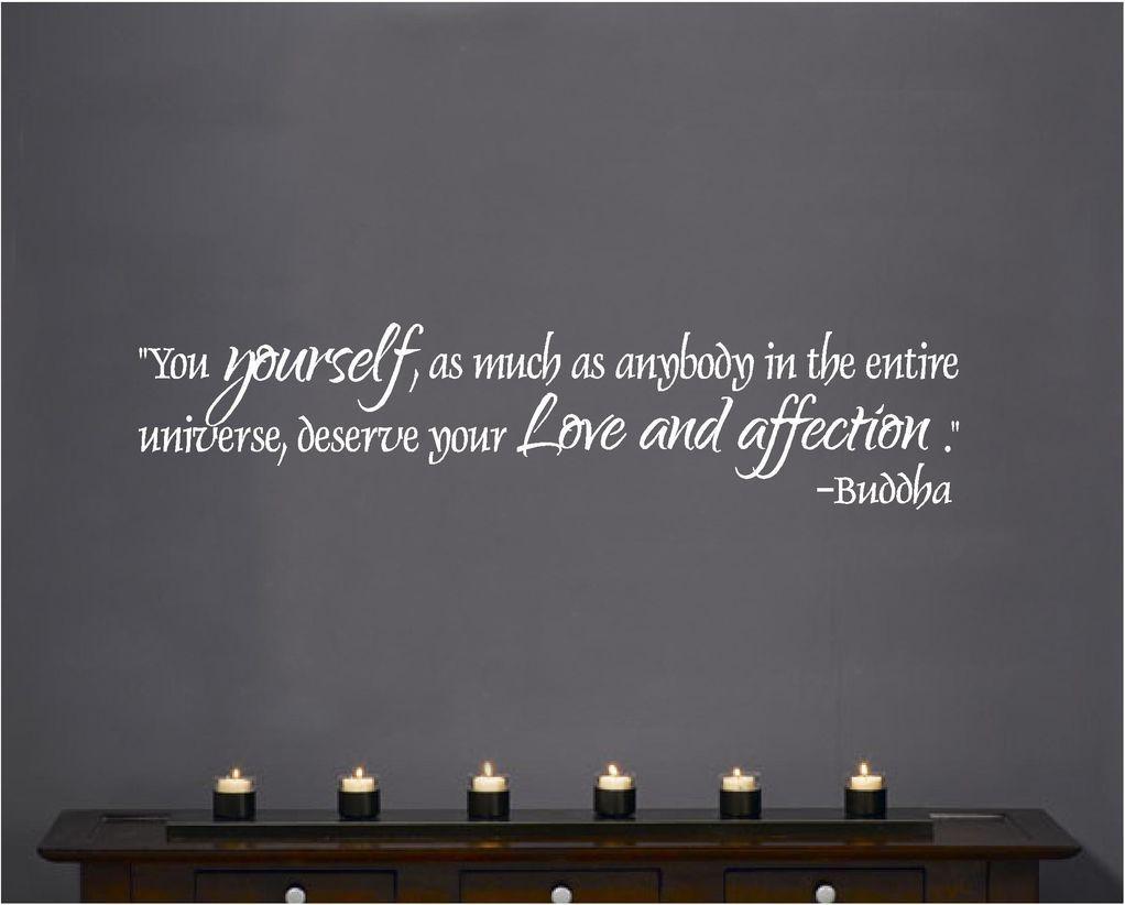 Vinyl Wall Decal Art Saying Decor Buddha you yourself deserve love affection
