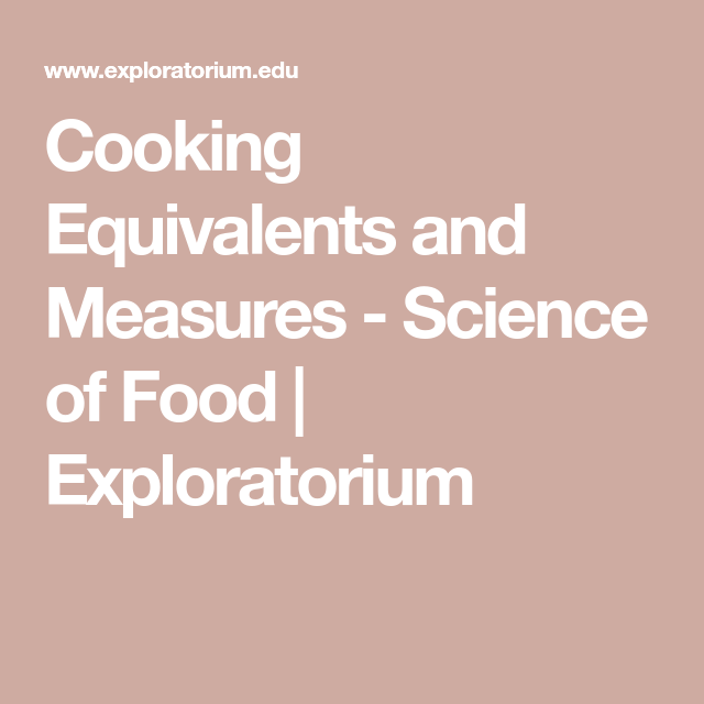 Cooking Equivalents And Measures
