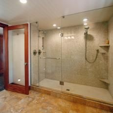 Enclosed Showers large neutral shower with glass enclosure   shower stall