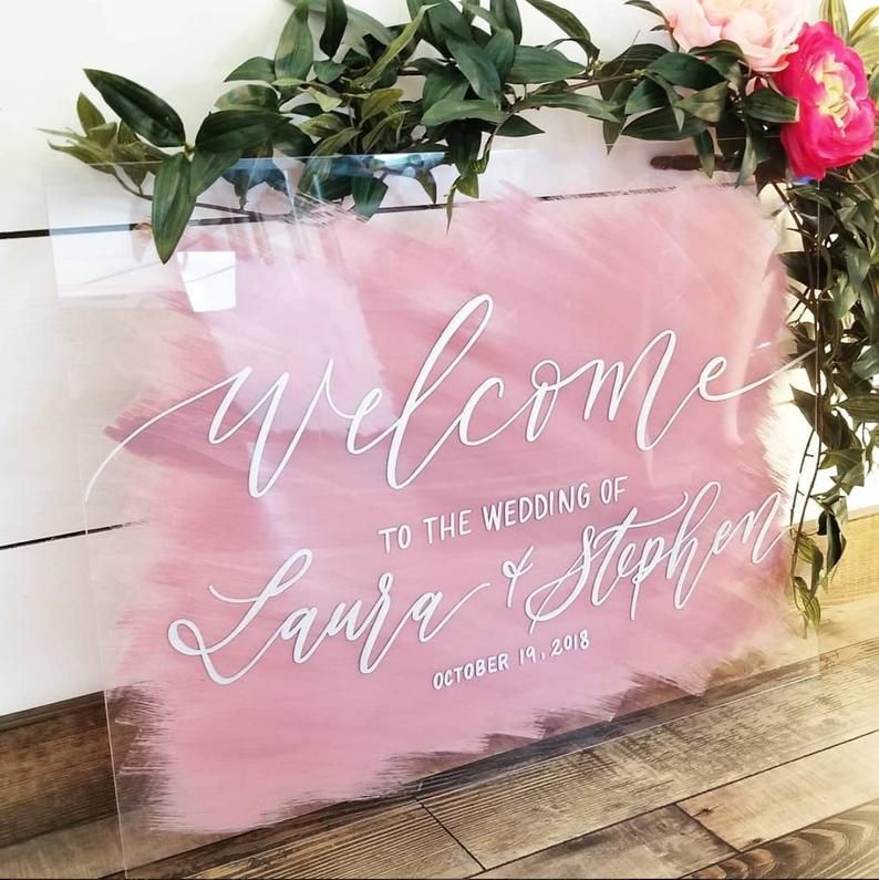 Acrylic wedding welcome sign blue and copper acrylic wedding sign with stand brush stroke painted back watercolor modern acrylic sign