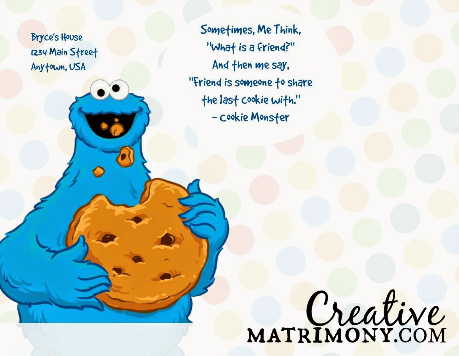 Free Printable Adorable Sesame Street Themed Birthday Invitation It X27 S Optimized To Print As A Post Monster Cookies Monster Cards Elmo And Cookie Monster
