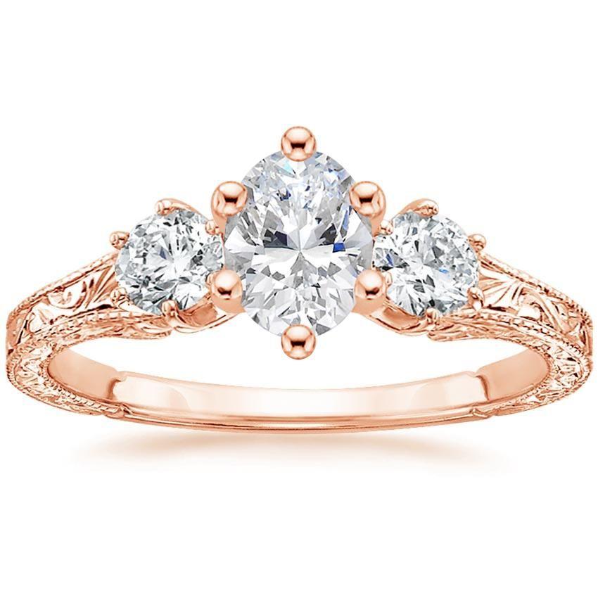Oval Cut Three Stone Hudson Diamond Engagement Ring - 14K Rose Gold