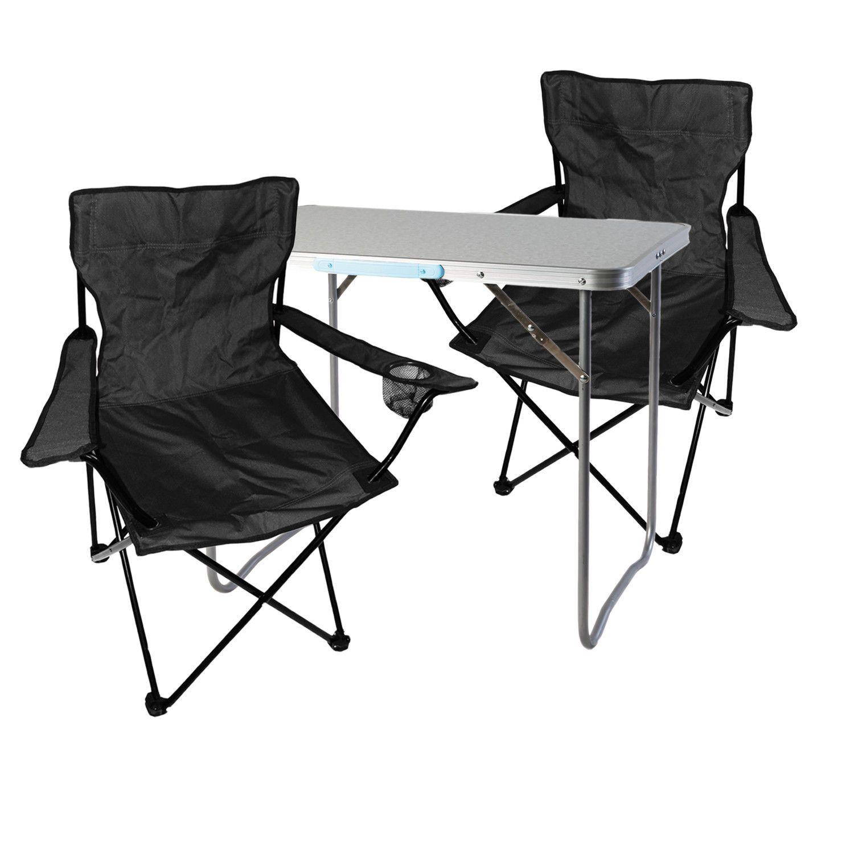 3 Tlg Schwarz Campingmobel Set Tisch Mit Tragegriff