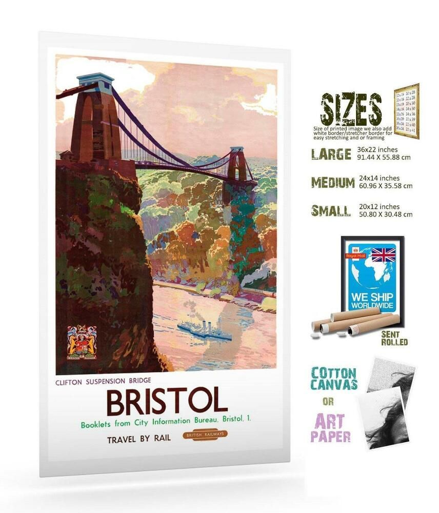 UK Bristol 16 VINTAGE TRAVEL POSTER