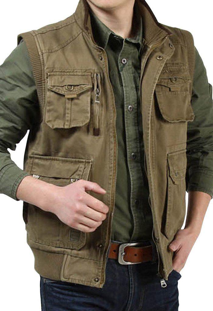 Asjp mens winter pockets zipper photography fishing vest for Mens fishing vest