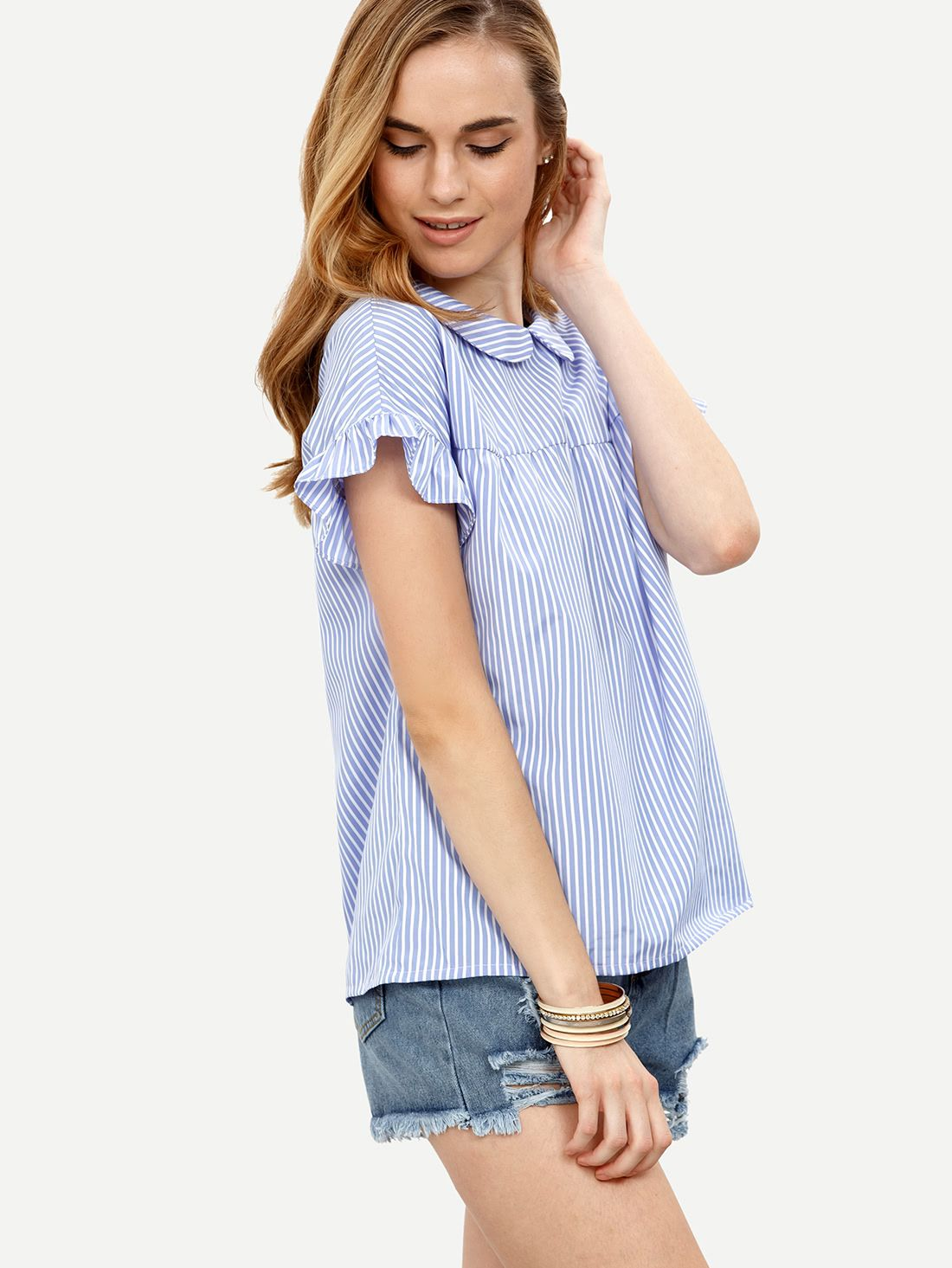 Striped Peter Pan Collar Shirt From Shein This Is An Affiliate Link